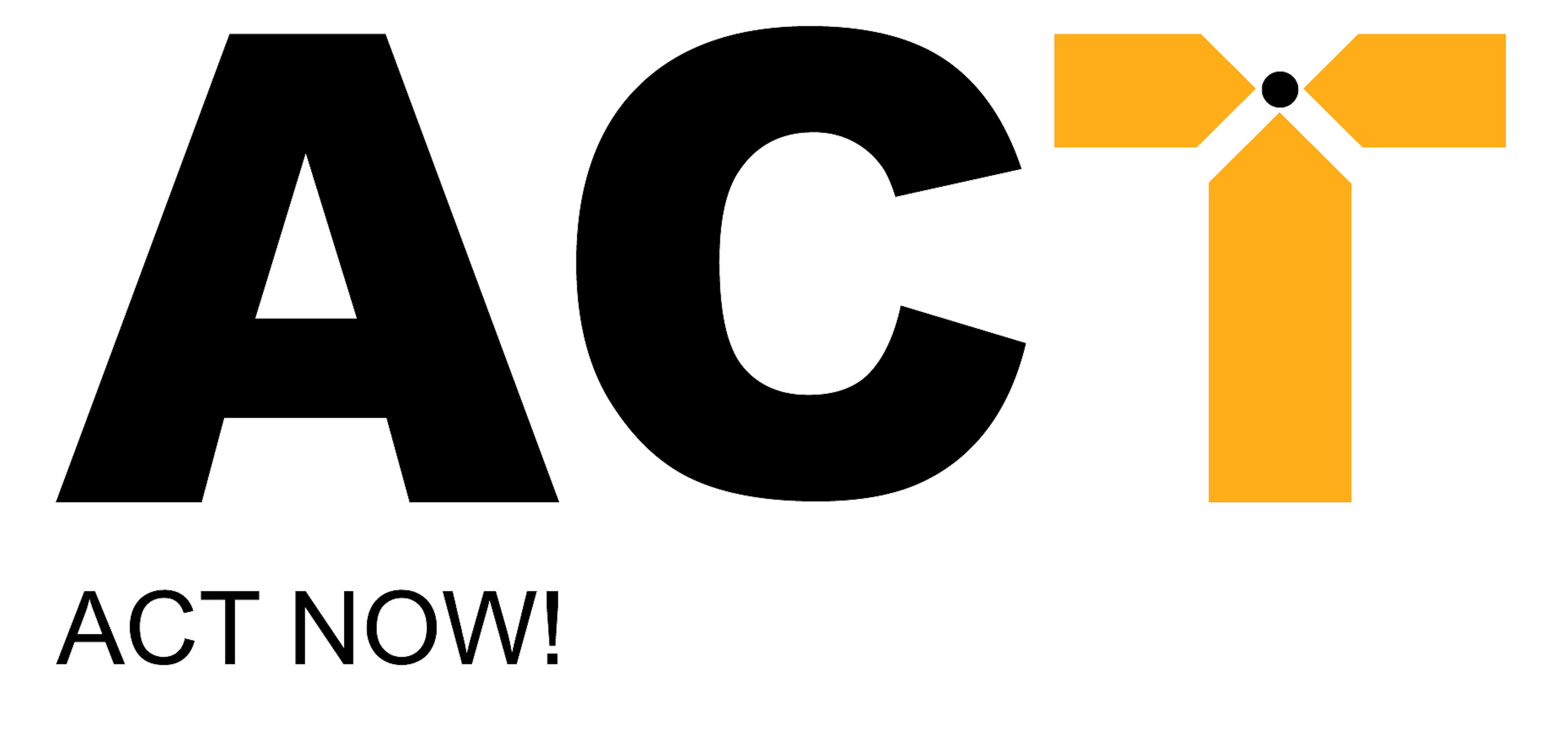 On a white background the letters of which the first two are black and read A C. The third is a yellow T, with its intersection of the vertical line with the horizontal line has produced three intersecting points all meeting a small black circle. Below the first letter are the words ACT NOW! in black.